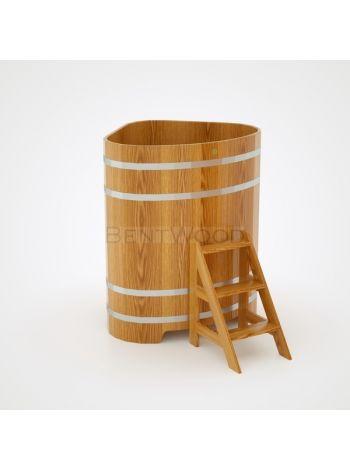 Купель для бани угловая дуб натуральный 1,10х1,10x1,40