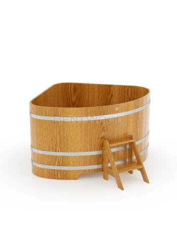 Купель для бани угловая дуб натуральный 1,53х1,53x1,0