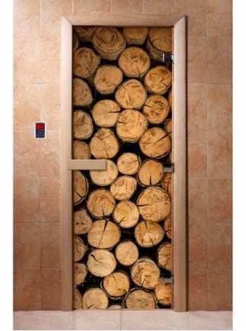 Стеклянная дверь для бани и сауны с фотопечатью 190*70 А046