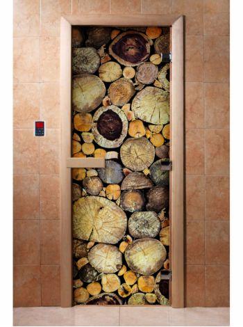 Стеклянная дверь для бани и сауны с фотопечатью 190*70 А047