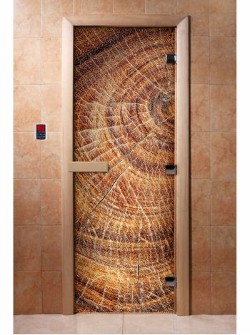 Стеклянная дверь для бани и сауны с фотопечатью 190*70 А049