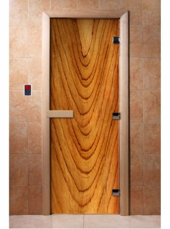 Стеклянная дверь для бани и сауны с фотопечатью 190*70 А050