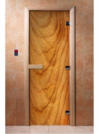 Стеклянная дверь для бани и сауны с фотопечатью 190*70 А051