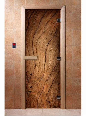 Стеклянная дверь для бани и сауны с фотопечатью 190*70 А052