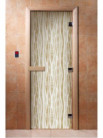 Стеклянная дверь для бани и сауны с фотопечатью 190*70 А055