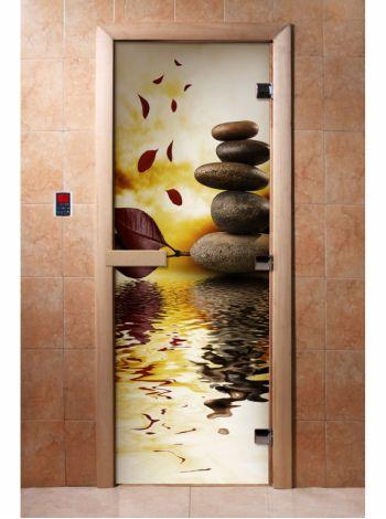 Стеклянная дверь для бани и сауны с фотопечатью 190*70 А056