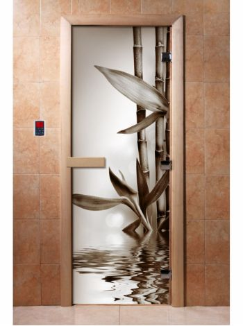 Стеклянная дверь для бани и сауны с фотопечатью 190*70 А057