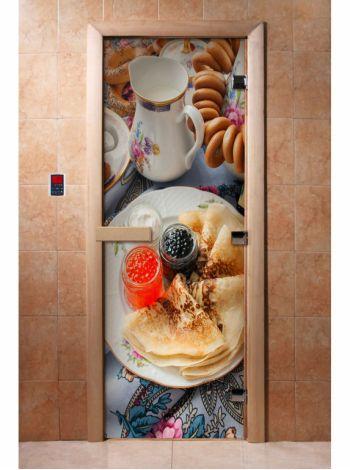 Стеклянная дверь для бани и сауны с фотопечатью 190*70 А059
