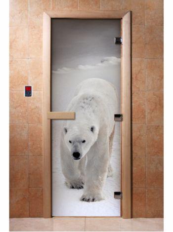 Стеклянная дверь для бани и сауны с фотопечатью 190*70 А062