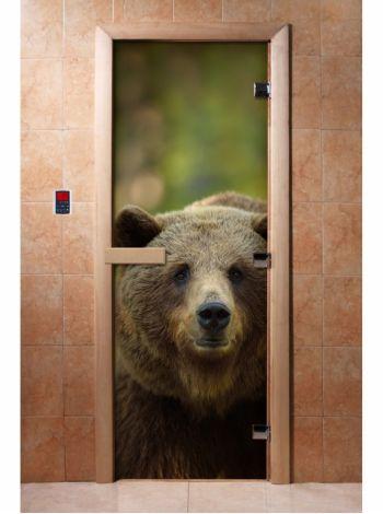 Стеклянная дверь для бани и сауны с фотопечатью 190*70 А065