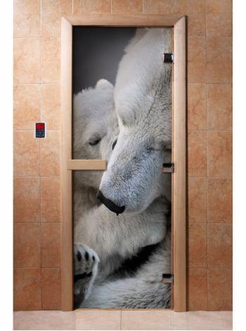 Стеклянная дверь для бани и сауны с фотопечатью 190*70 А066