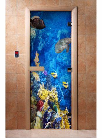 Стеклянная дверь для бани и сауны с фотопечатью 190*70 А068