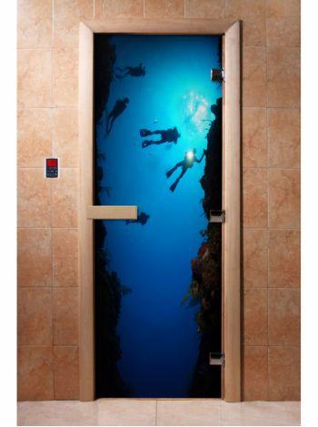 Стеклянная дверь для бани и сауны с фотопечатью 190*70 А069