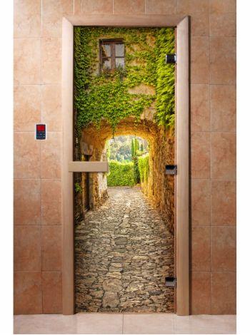 Стеклянная дверь для бани и сауны с фотопечатью 190*70 А071