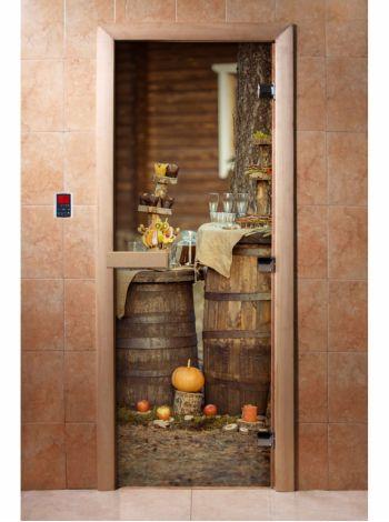 Стеклянная дверь для бани и сауны с фотопечатью 190*70 А073
