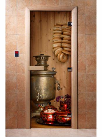 Стеклянная дверь для бани и сауны с фотопечатью 190*70 А076