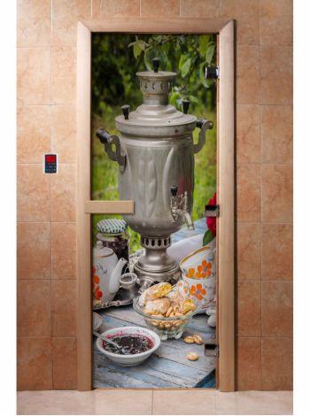 Стеклянная дверь для бани и сауны с фотопечатью 190*70 А077