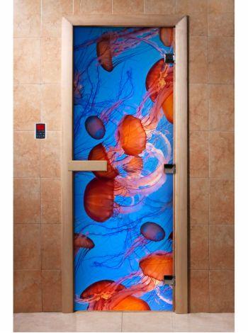 Стеклянная дверь для бани и сауны с фотопечатью 190*70 А079