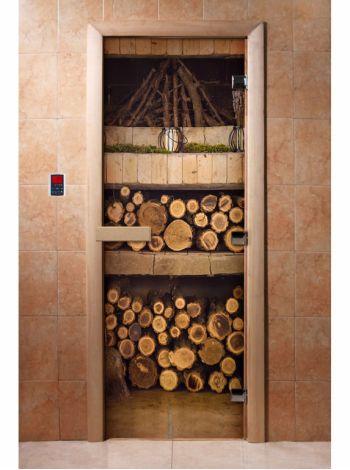 Стеклянная дверь для бани и сауны с фотопечатью 190*70 А080