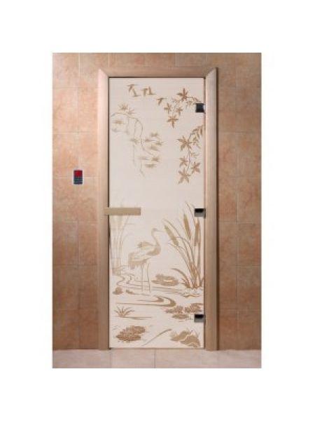 """Дверь для бани """"Камышовый рай"""" стекло сатиновое коробка ольха 70х190см"""