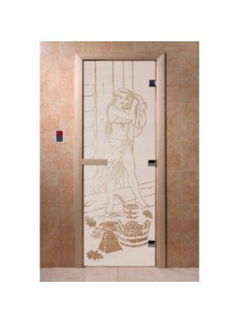 """Дверь для бани """"Дженифер"""" стекло сатиновая коробка ольха 70х190см"""