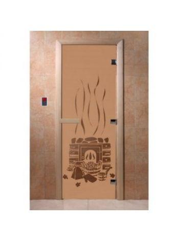 """Дверь для бани """"Банька"""" стекло бронза матовая коробка ольха 70х190см"""