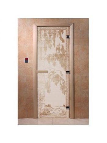 """Дверь для бани """"Березка"""" стекло сатиновое коробка ольха 70х190см"""