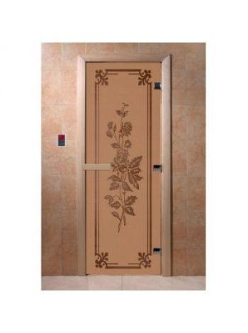 """Дверь для бани """"Розы"""" стекло бронза матовая коробка ольха 70х190см"""