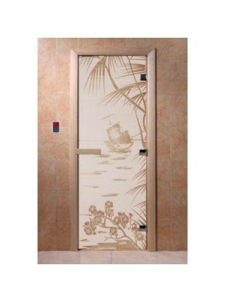 """Дверь для бани """"Голубая лагуна"""" стекло сатиновое коробка ольха 70х190см"""