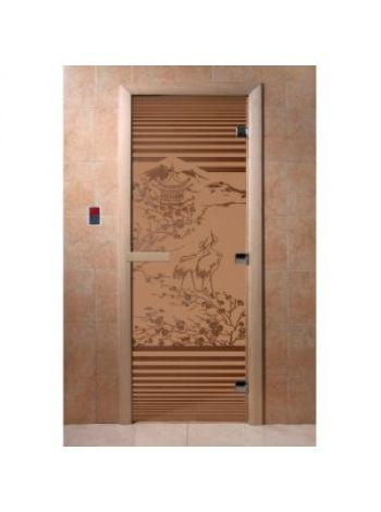 """Дверь для бани """"Япония"""" стекло бронза матовая коробка ольха 70х190см"""