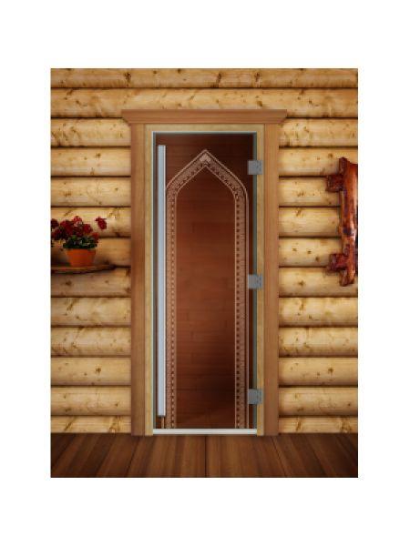 """Дверь для бани престиж """"Арка бронза"""" коробка ольха"""