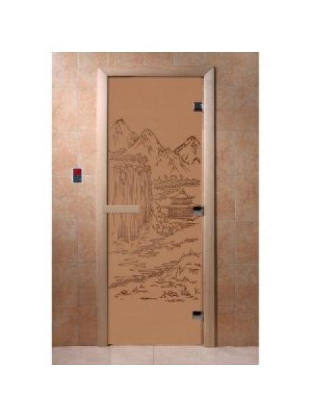 """Дверь для бани """"Восток"""" стекло бронза матовая коробка ольха 70х190см"""