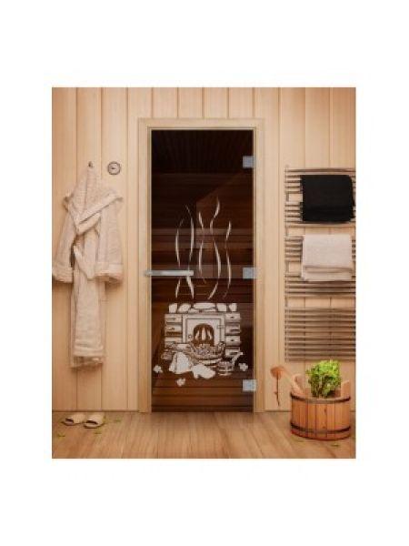 Дверь для бани Эталон с рисунком