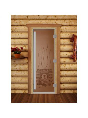 "Дверь для бани престиж ""Банька матовая"" коробка ольха 70х190см"