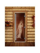 "Дверь для бани престиж ""Pим бронза"" 70x190см коробка ольха"