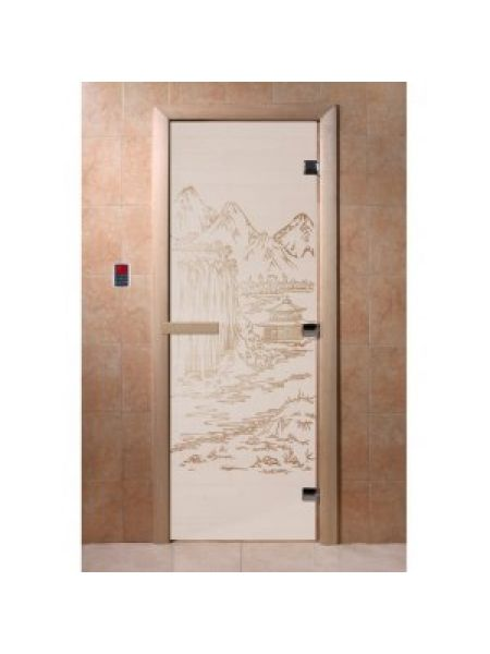 """Дверь для бани """"Восток"""" стекло сатиновое коробка ольха 70х190см"""