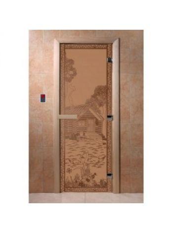 """Дверь для бани """"Банька в лесу"""" стекло матовая коробка ольха 70х190см"""