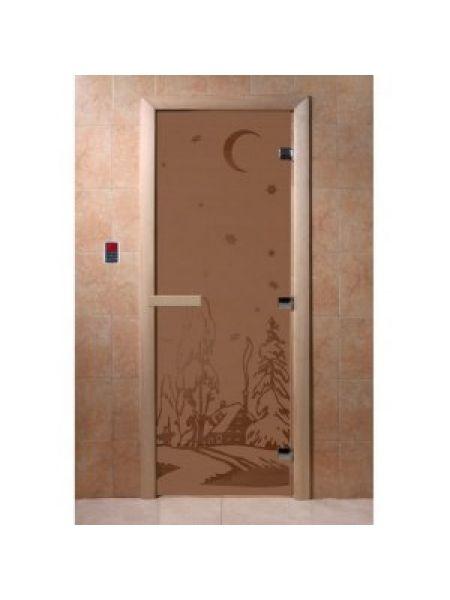 """Дверь для бани """"Зима"""" стекло бронза матовая коробка ольха 70х190см"""