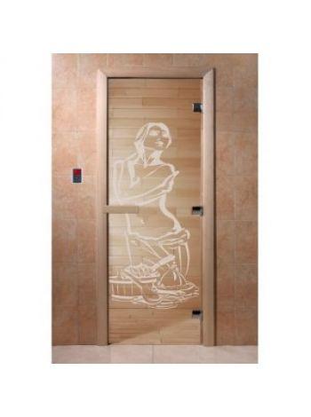 """Дверь для бани """"Дженифер"""" стекло бронза прозрачная коробка ольха 70х190см"""