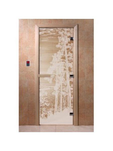 """Дверь для бани """"Pассвет"""" стекло бронза прозрачное коробка ольха 70х190см"""
