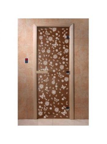 """Дверь для бани """"Цветы и бабочки"""" стекло бронза прозрачная коробка ольха 70х190см"""