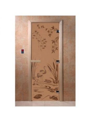 """Дверь для бани """"Камышовый рай"""" стекло бронза матовая коробка ольха 70х190см"""