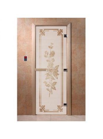 """Дверь для бани """"Розы"""" стекло сатиновое коробка ольха 70х190см"""