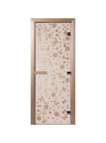 """Дверь для бани """"Цветы и бабочки"""" стекло сатиновое коробка ольха 70х190см"""