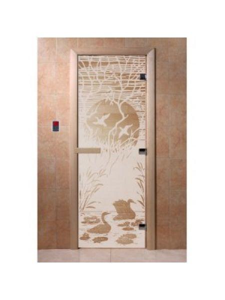 """Дверь для бани """"Лебединое озеро"""" стекло сатиновое коробка ольха 70х190см"""