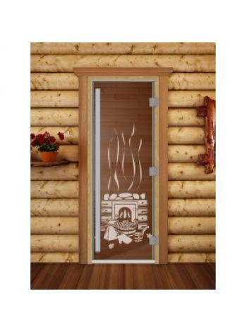 "Дверь для бани престиж ""Банька прозрачная"" коробка ольха 70x190см"