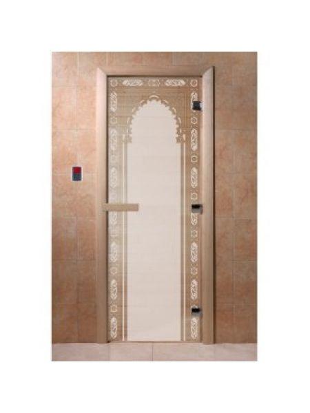"""Дверь для бани """"Волшебный пар"""" стекло сатиновое коробка ольха 70х190см"""