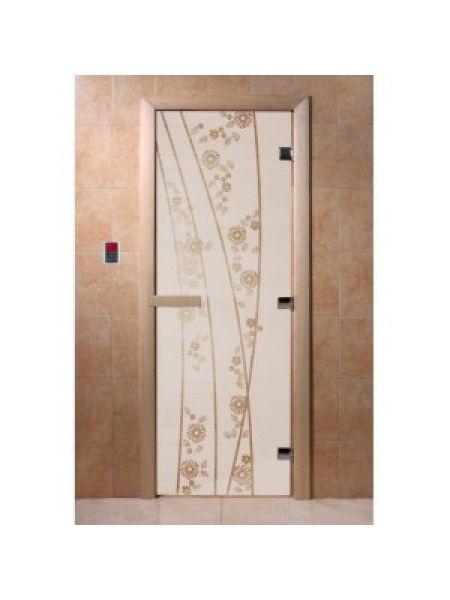 """Дверь для бани """"Весна цветы"""" стекло сатиновое коробка ольха 70х190см"""