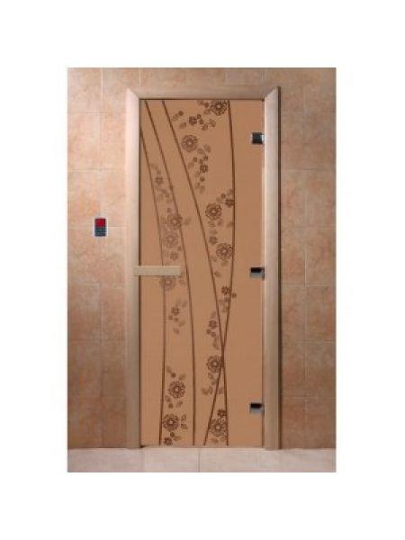 """Дверь для бани """"Весна цветы"""" стекло бронза матовая коробка ольха 70х190см"""
