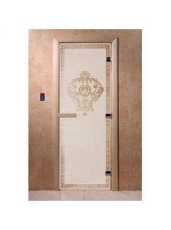 """Дверь для бани """"Версаче"""" стекло сатиновое коробка ольха 70х190см"""